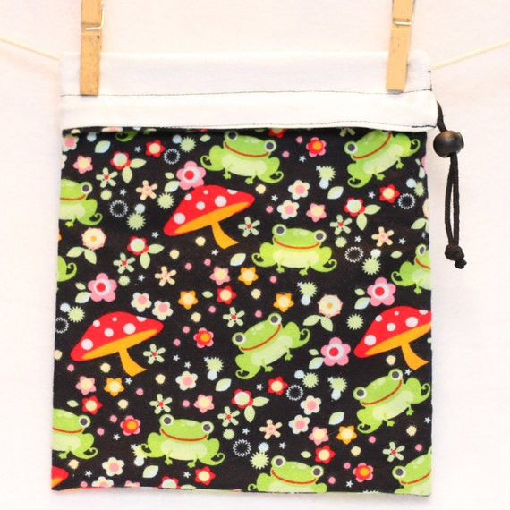 Project Bag, Frogs, Mushrooms, Flowers, Black and White, Reversible, Large, FREE US SHIPPING