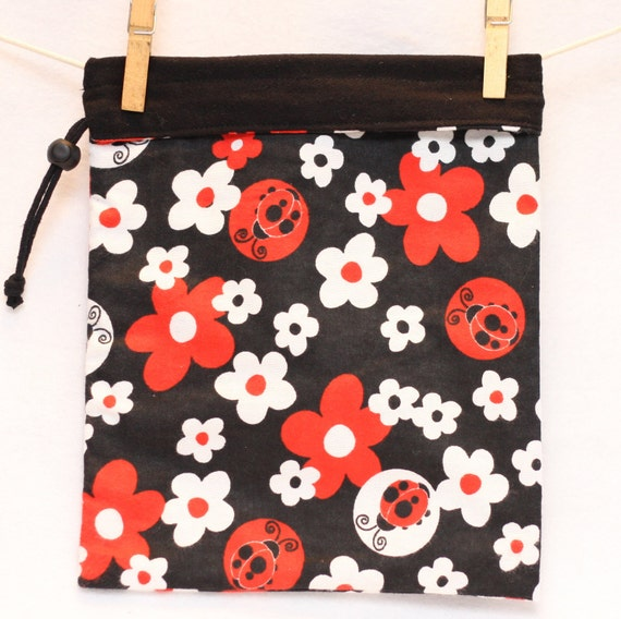 Project Bag, Ladybugs, White and Red Flowers, Black, Reversible, Large FREE US Shipping