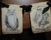 Owl banner, 8 different images. Happy Halloween hand stamped.