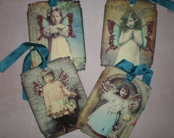 4 Little Angel Tags  with pink glitter