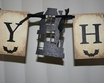 Happy Halloween banner / garland with Haunted House.