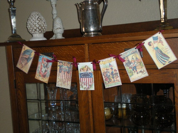 4TH July banner with vintage images and German glitter