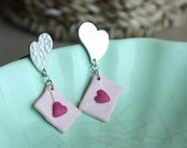 CLEARANCE Romantic Love Letter Gold Plated and Sterling Post Earrings