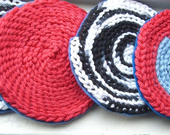 Set of 4 Coasters in Red, Blue, Black & White