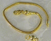 gold plated  8 1/2 bracelet for big hole beads and charms