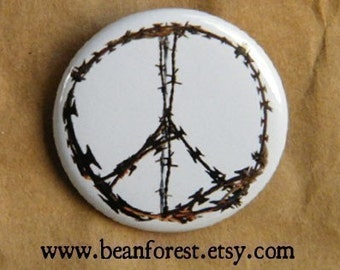 """razor wire peace sign - peace sign pin peace sign jewelry 1.25"""" pinback button magnet peace symbol barbed wire art razor blade"""