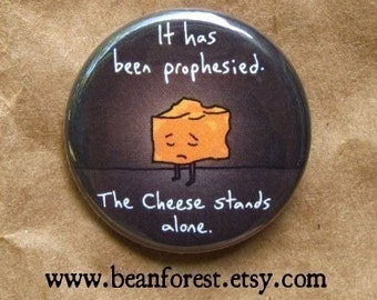 "the cheese stands alone - funny nursery rhyme art button 1.25"" magnet mother goose cow jumped over the moon"