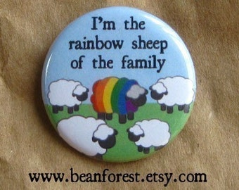 "rainbow sheep - gay pride button gift lgbt pin rainbow flag lgbt pride 1.25"" pinback badge magnet queer pin cute black sheep of the family"