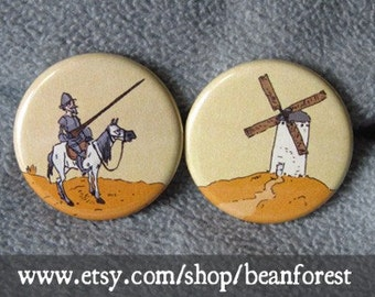 don quixote vs windmill - pinback button badge