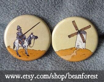 don quixote vs windmill - book gift magnet set pinback button badge