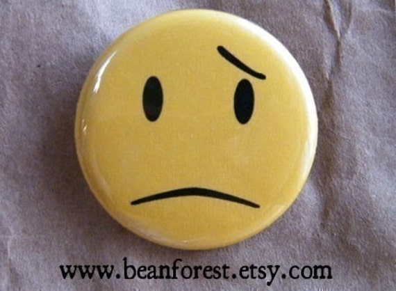 frowny face - pinback button badge