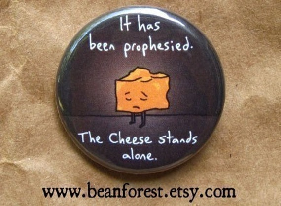 """the cheese stands alone - funny nursery rhyme art button 1.25"""" magnet mother goose cow jumped over the moon"""