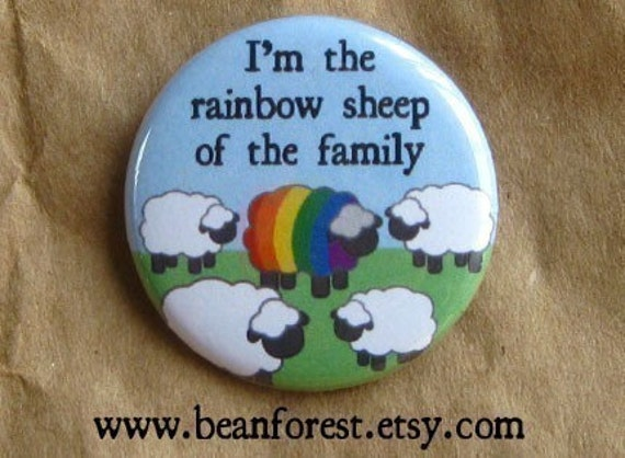 """rainbow sheep of the family - lgbt pride gay pride magnet lgbt pride lgbt flag 1.25"""" refrigerator magnet pinback button badge"""