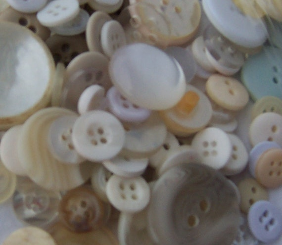 BULK - Buttons - Light Colored - OVER 100 - some vintage - some not