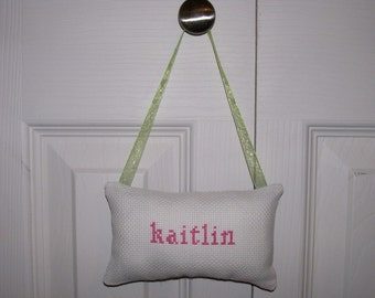 Kaitlin Hanging Counted Cross Stitch Pillow