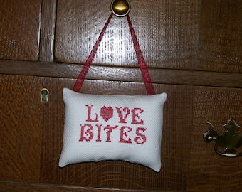 Love Bites Counted Cross Stitch Hanging Pillow