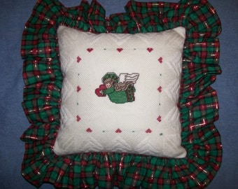 Counted Cross Stitch Christmas Angel Pillow