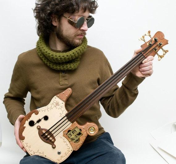 "Steampunk  ukulele Bass  20"" scale acoustic/electric"