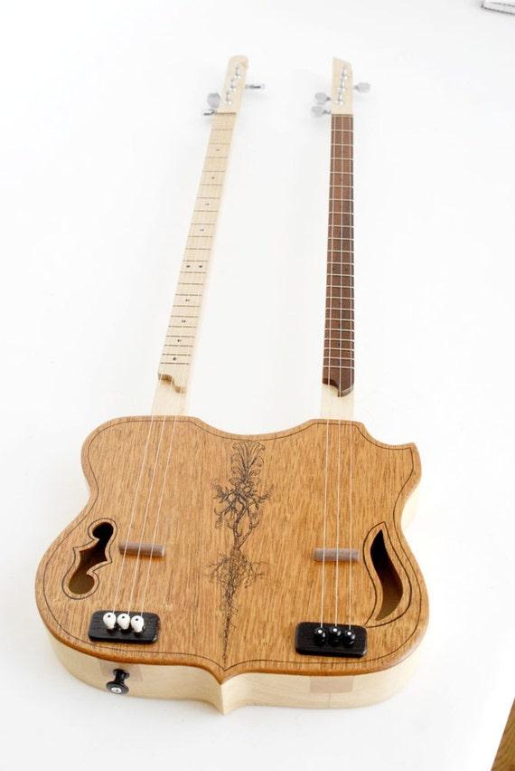 Double Neck Backpacker Guitar   --3 string each--   -in stock-