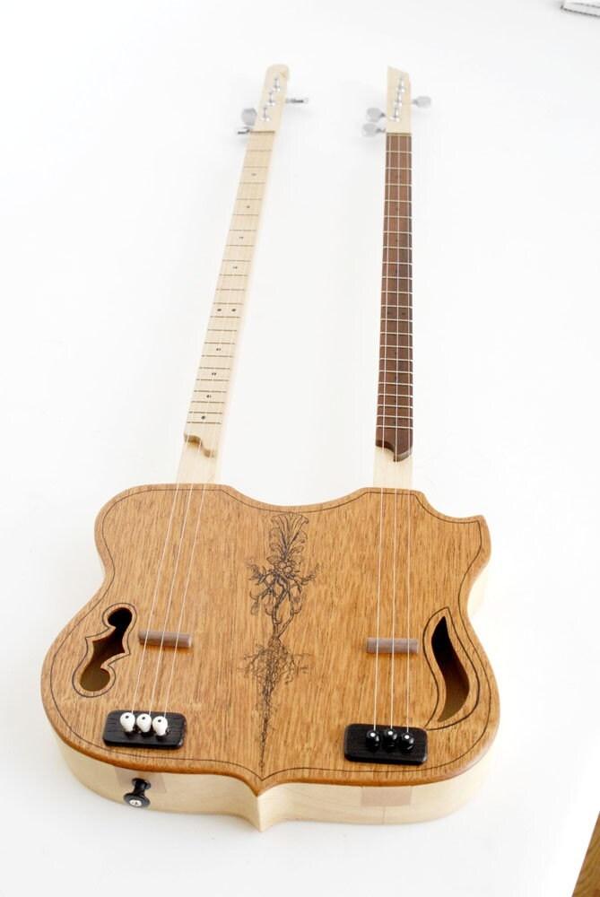 double neck backpacker guitar 3 string each in stock. Black Bedroom Furniture Sets. Home Design Ideas
