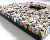 colorful square mirror - made from recycled magazines blue, green, red, purple, pink, yellow, orange