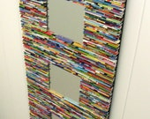 colorful mirror, wall art- made from recycled magazines, blue, green, red, purple, pink, yellow, orange