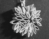 Pendant necklace in black and white- made from recycled magazines, modern, recycled, paper, magazines, flower, girl