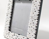 white 5x7 picture frame - made from recycled magazines, grey and white, frame, gift, home decor, portrait, unique frame