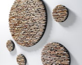 small set of 5 neutral colored round wall art- made from recycled magazines, colorful, unique