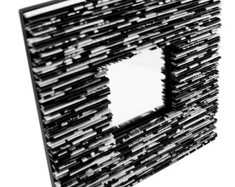 black and white square mirror -  made from recycled magazines, white, grey, square, modern mirror, home decor