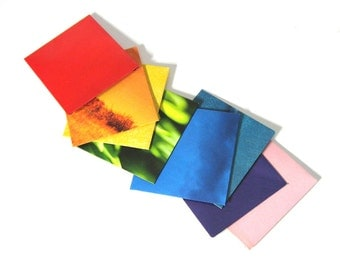 mini ENVELOPES - set of 8 - made from recycled magazines, colorful, red, orange, yellow, green, blue, teal, pink, purple, rainbow,all colors
