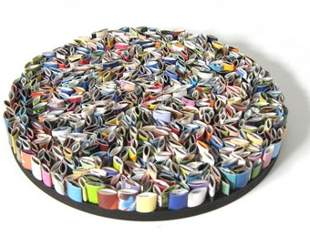 round wall art- made from recycled magazines, blue, green, red, purple, pink, yellow, orange