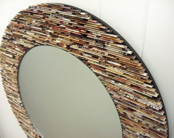 18 Inch Diameter Neutral Round Mirror, Wall Art  Made From Recycled  Magazines, Brown