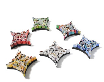set of 6 star ornaments - made from recycled magazines, red, blue, green, white, yellow, multi-colored