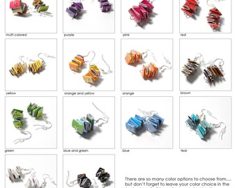 colorful dangle earrings - made from recycled magazines, you pick your color, purple, pink, yellow, orange, black, green, blue