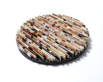 round neutral colored wall art- made from recycled magazines, colorful, unique 6 inch circle