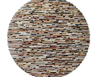 neutral colored round wall art- made from recycled magazines, unique 12 inch circle, brown, tan, neutral