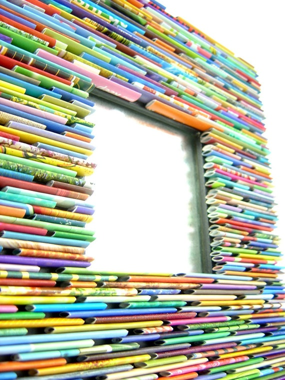 bright and colorful square mirror- made from recycled magazines, paper, square, decoration, modern, nursery decor, gift
