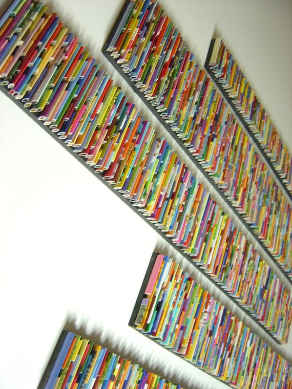 barcode wall art- made from recycled magazines, colorful, art, sticks, paper, recycled magazies, unique