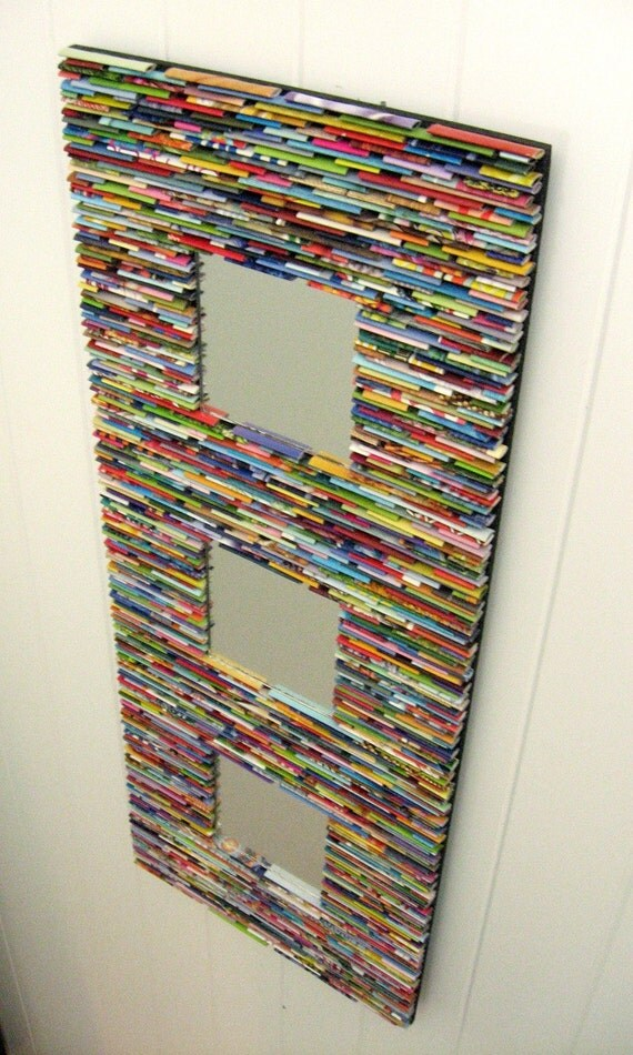 Diy Wall Decor Using Recycled Materials : Colorful mirror wall art made from recycled magazines blue