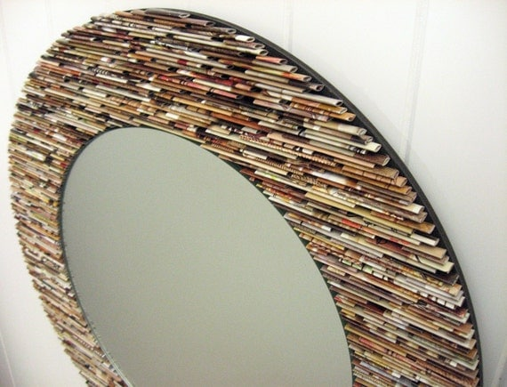 18 inch diameter neutral round  mirror, wall art- made from recycled magazines, brown, tan, neutral