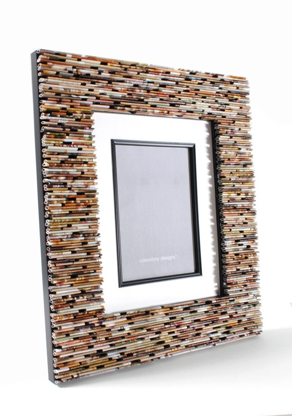 LARGE picture frame, wall art- made from recycled magazines, you choose your color, frame, wall art, gift
