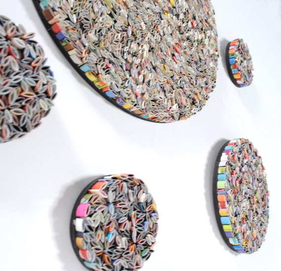 set of 5 round wall art- made from recycled magazines, colorful, unique, round, wall hanging, paper, multiple sizes