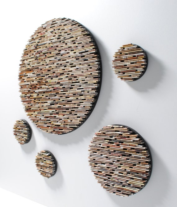 small set of 5 neutral colored round wall art- made from recycled magazines, colorful