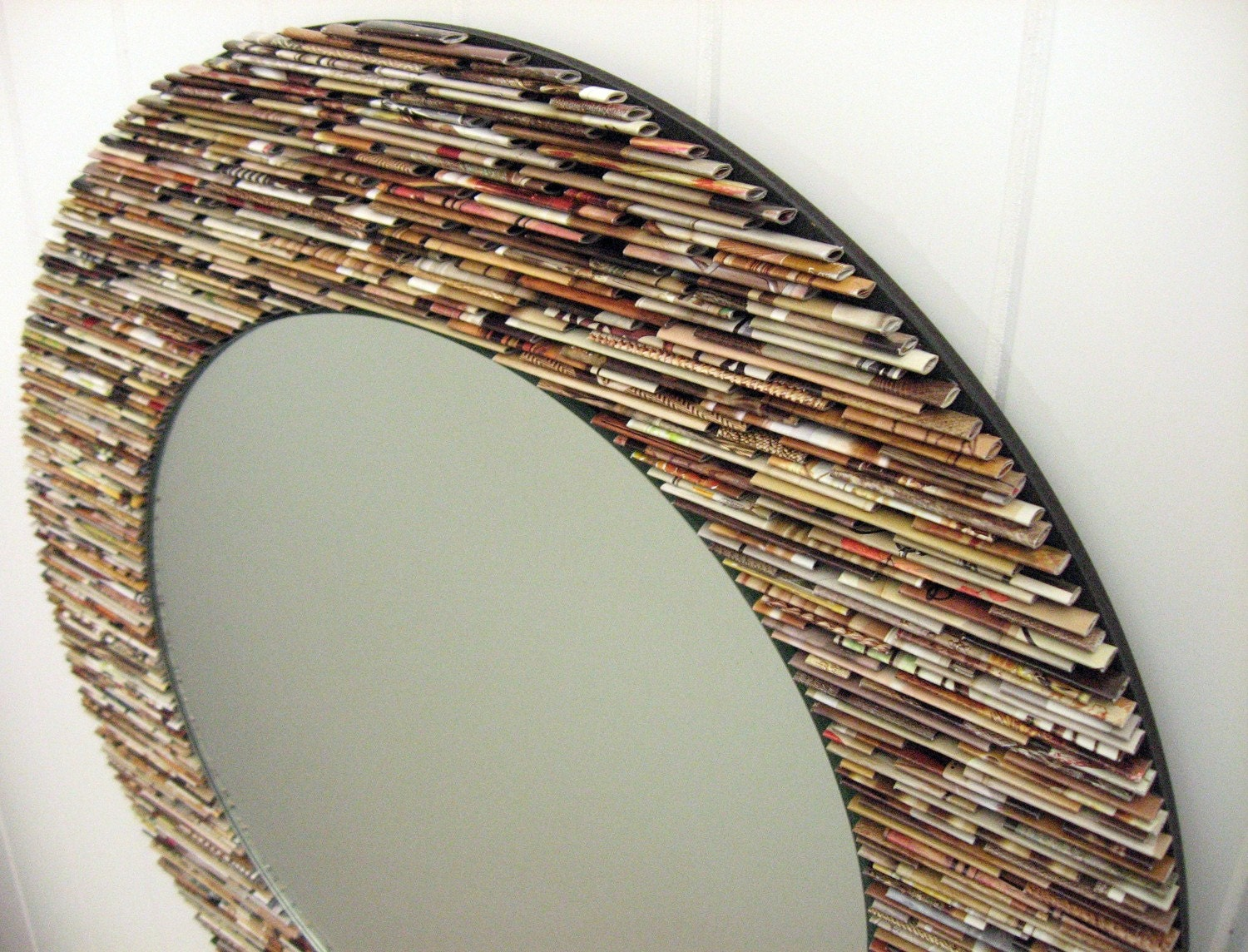 Neutral Wall Art 18 inch diameter neutral round mirror wall art made from
