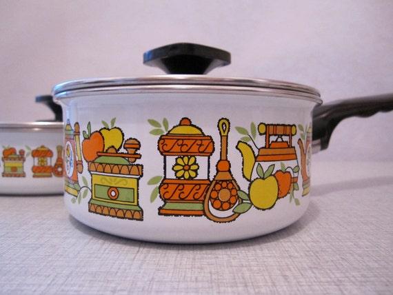 TWO white enamel 60s vintage RETRO GRAPHIC pot and pan set