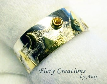 """Ring - """"Gamma Quadrant"""" - inspired by Star Trek DS9 - Sterling Silver, 18kt yellow gold, saphire"""