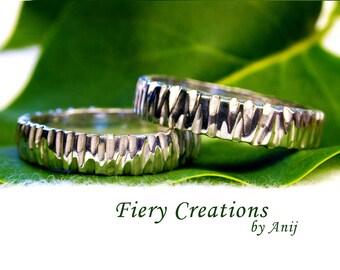 """Wedding or Friendship Ring Set """"Ruffles"""" - 2 Sterling Silver rings, OOAK"""