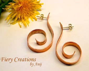 Curls and Swirls Hoops  - Textured Copper Hoop earrings with Sterling Silver posts
