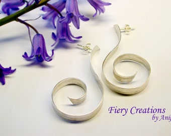 Curls and Swirls Hoops  - Textured Sterling Silver Hoop earrings with posts